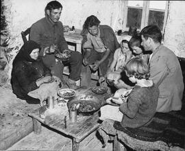 [Greece] The Dracopoulos family of Vlakherna, Arcadia, have beans for their mid-day meal and they...