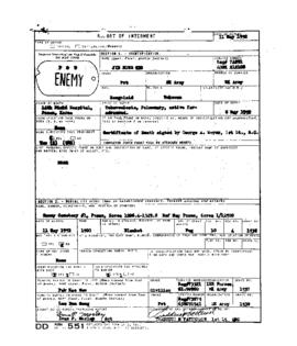 POW Cemetary Number 1 - Pusan, Korea - Internment Report - Grave 1538
