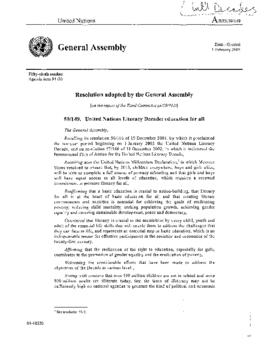 U.N. General - Proposals for Int'l Days, Weeks, Years, Decades; incl. Guidelines 2005
