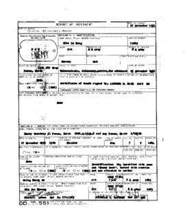 POW Cemetary Number 1 - Pusan, Korea - Internment Report - Grave 1084